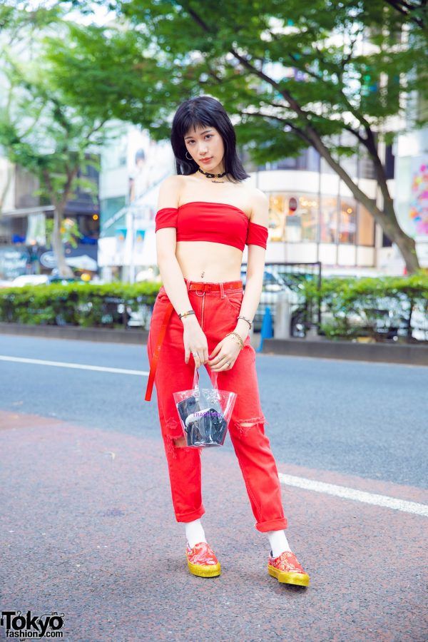 Harajuku Model in Vans x Opening Ceremony Qi Pao Sneakers, Mamacita Necklace, Crop Top & Nana-Nana Trash Box Bag