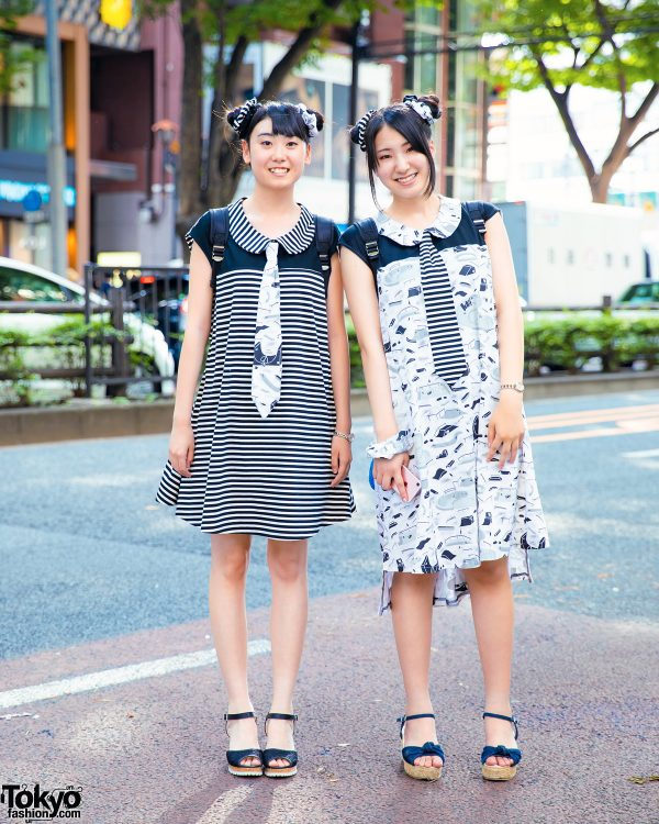 Harajuku Girls in Coordinating Handmade Monochromatic Street Styles