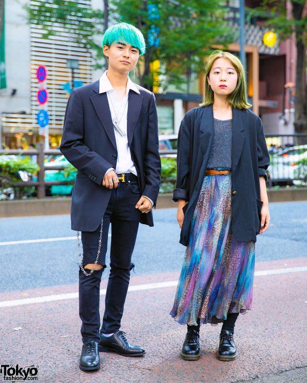 Harajuku Vintage Street Styles w/ Green Hair, Miu Miu, Giorgio Armani, Tiffany & Co., Dr. Martens, GU & FU•XU•RY