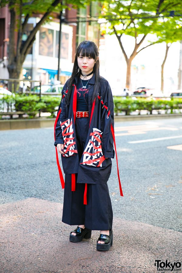 Red & Black Tokyo Street Style w/ Vintage Ribbons Jacket, Open The Door, Oh Pearl & Bubbles