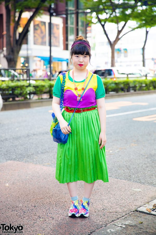 Green Pleated Skirt & Multicolored Floral Sneakers in Harajuku