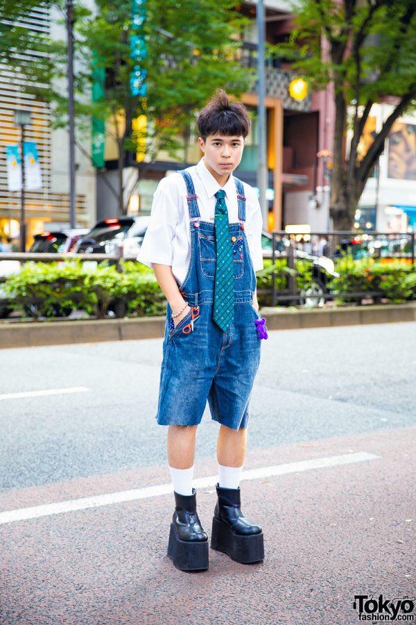 Harajuku Guy in Handmade Denim Overalls, Vintage Top & Funtasma Platform Shoes