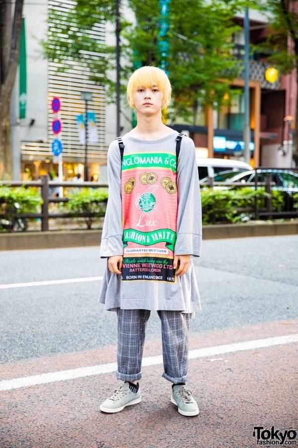Harajuku Guy in Tokyo Vintage Streetwear w/ Blond Hair, Vivienne Westwood Top, Plaid Pants & Prada Backpack