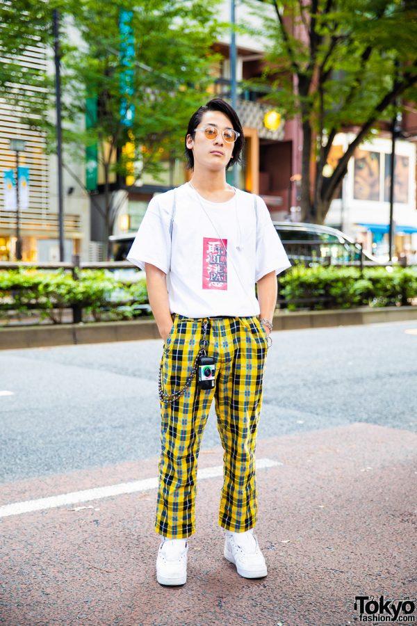 Yellow Plaid Pants Harajuku Streetwear Style w/ BlackEyePatch, Gosha Rubchinskiy, Nike & Utsurundesu