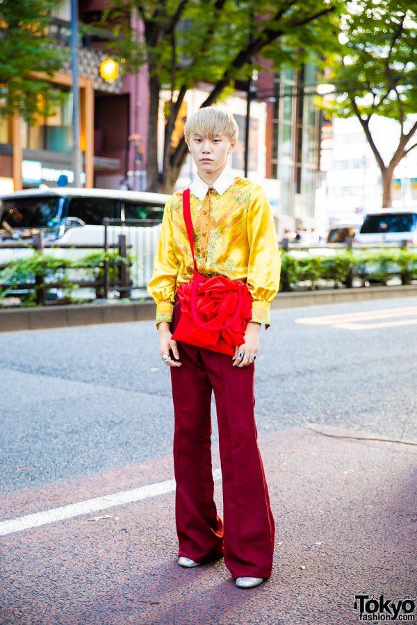 Yellow Printed Top, Lee Maroon Pants, Shin Red Bag & Maison Margiela Silver Shoes in Harajuku