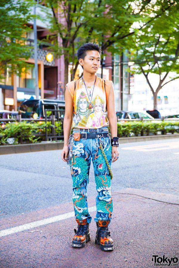 Mixed Prints Tokyo Vintage Streetwear Style w/ New Rock, Blackmeans & Vivienne Westwood