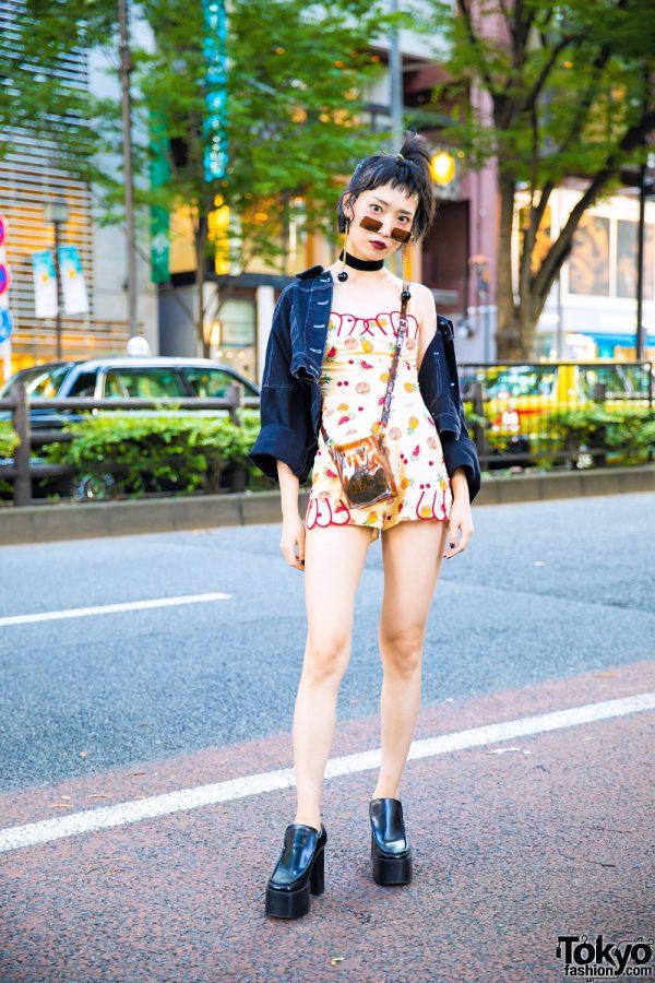 Harajuku Girl in Fruit Print Romper, Denim Jacket & Black Platform Boots