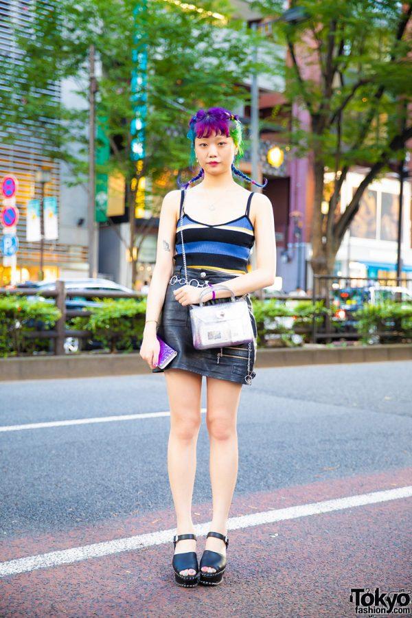 Harajuku Girl w/ Colorful Twin Braids, Striped Tank Top, Bubbles Black Leather Mini Skirt, WC Bag & Black Platform Sandals