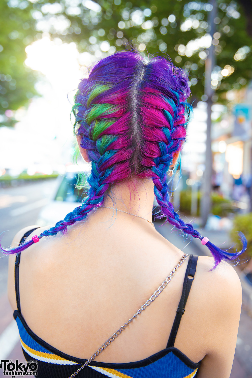 Harajuku Girl W Colorful Twin Braids Striped Tank Top