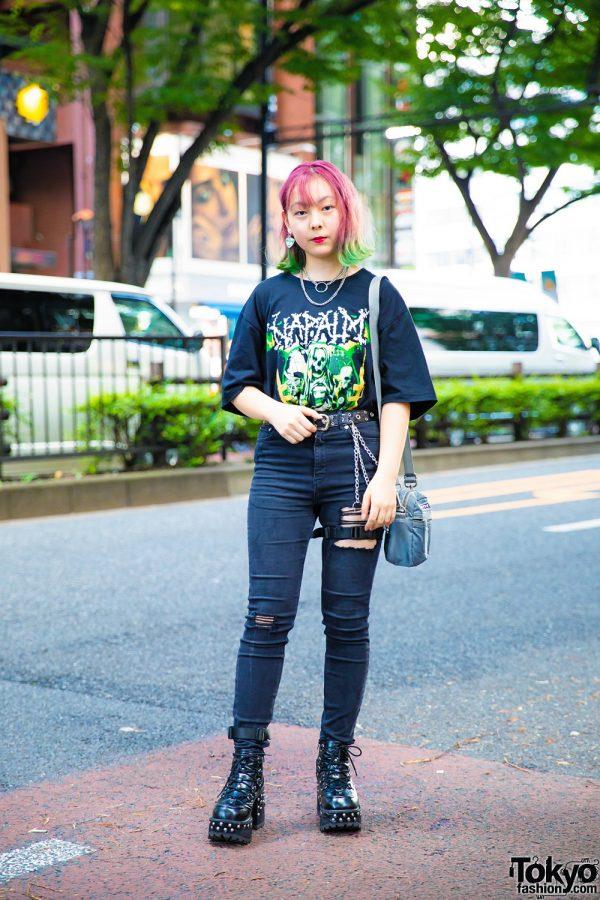 Harajuku Girl w/ Colorful Hair and All Black Vintage & Handmade Street Style
