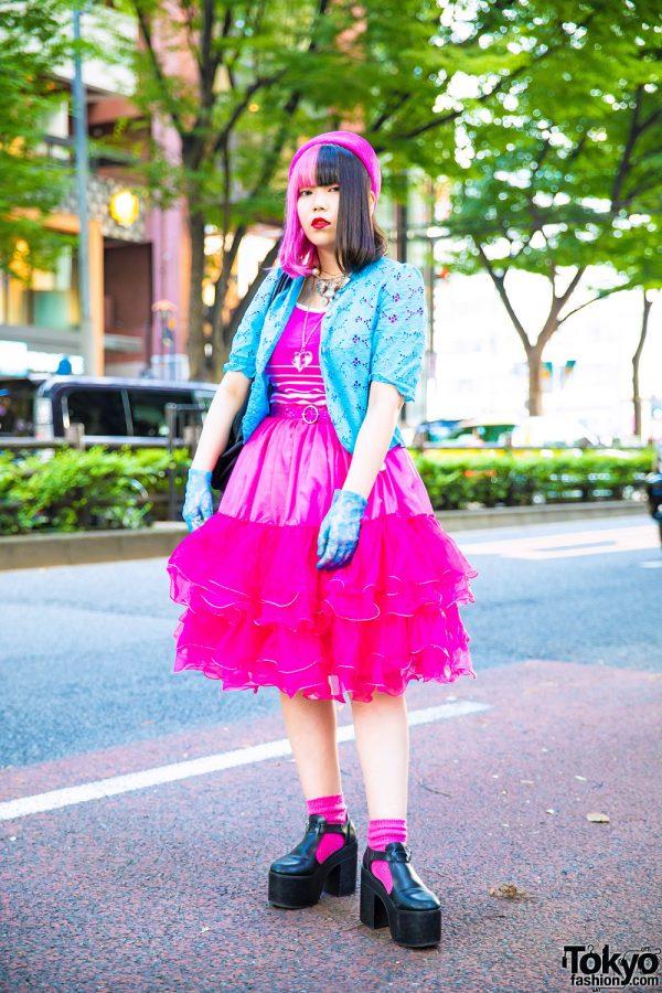 Half Pink Hair, New York Joe Blue Lace Cardigan, Agnes B. Bag & G2? Pink Ruffle Dress in Harajuku