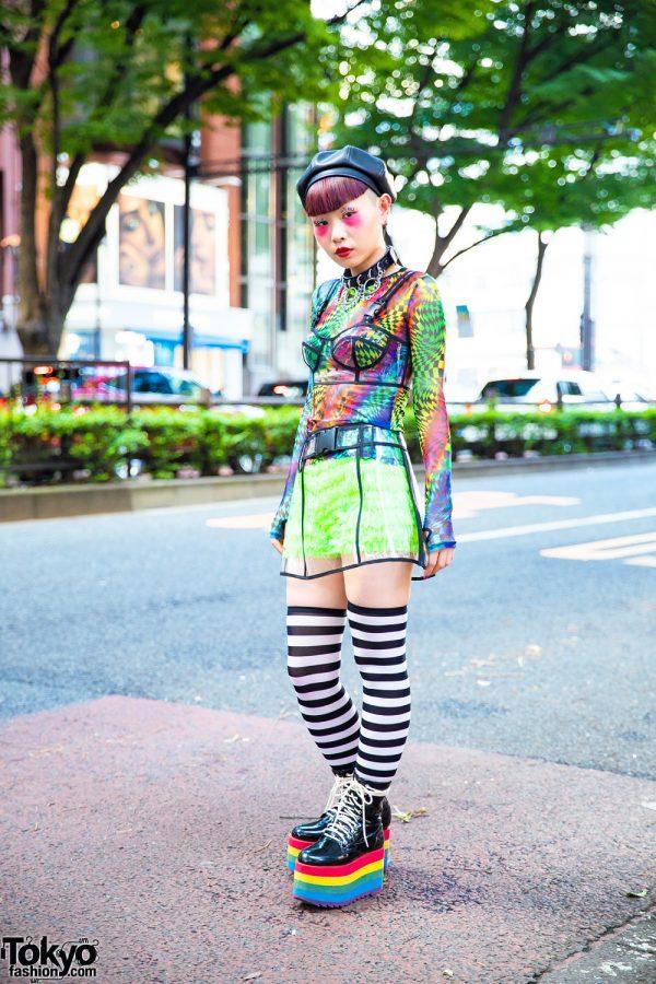 Japanese Nailist in Harajuku w/ Mixed Prints & Rainbow Platforms, Dolls Kill & Club Exx