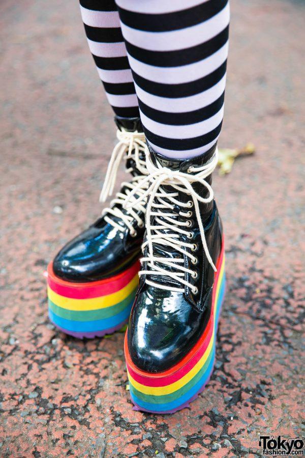 Full article for this photo   Japanese Nailist in Harajuku w  Mixed Prints    Rainbow Platforms
