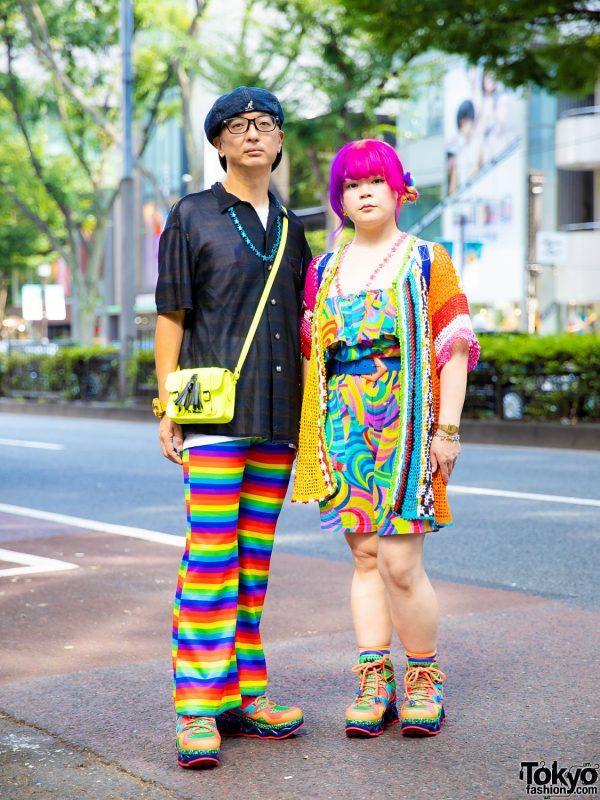 Kobinai Rainbow Pants, Chicago Multicolored Dress, Pinnap Tokyo Cardigan & Nincompoop Capacity Star Necklaces in Harajuku