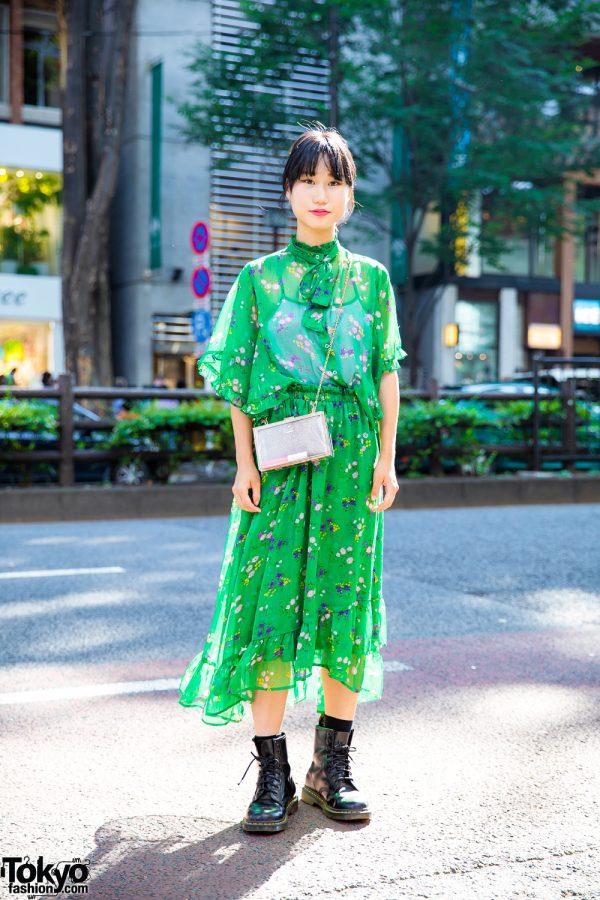 Harajuku Girl in Jouetie Green Floral Print Dress, Kate Spade Bag & Dr. Martens