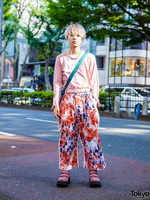 Pink Menswear Harajuku Style w/ Algonquins, Balmung Cropped Pants, Colorblock Shoes & New York Joe Bubble Bag