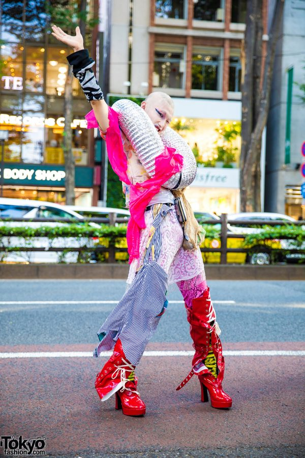 Japanese Avant-Garde Style w/ Madd Lounge, Vintage Gucci Pants, Daiso, Demonia Thigh Boots & Tube Neckpiece