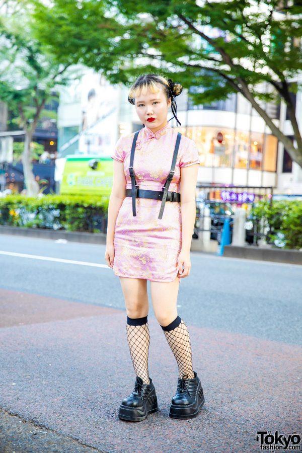 Chic Harajuku Street Style w/ Kiki2 Mandarin Collar Dress, Harness, Demonia Platforms & Spider Lily Hair Buns