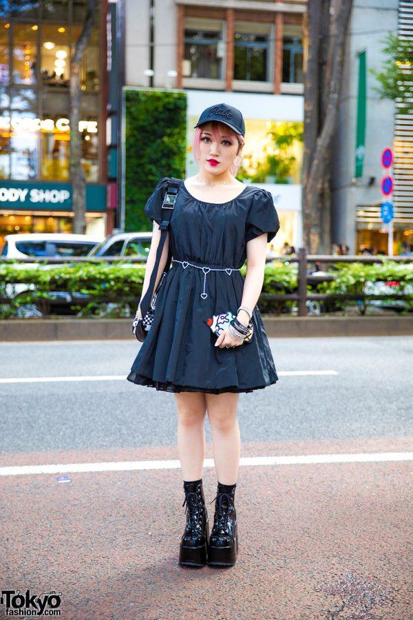 Moth in Lilac Guitarist in Harajuku w/ Earth Music & Ecology Dress, Moschino Bag &  Demonia Platform Boots