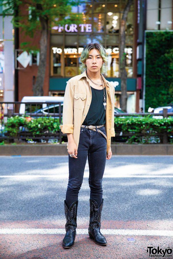 Tokyo Vintage Street Style w/ Black Cowboy Boots, Tan Jacket & John Lawrence Sullivan Jeans