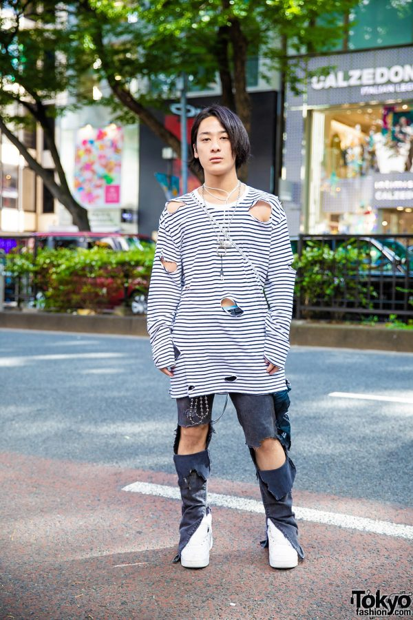 Casual Distressed Street Style w/ Cutout Sweatshirt, Gosha Rubchinskiy Drawstring Backpack & Nike Sneakers