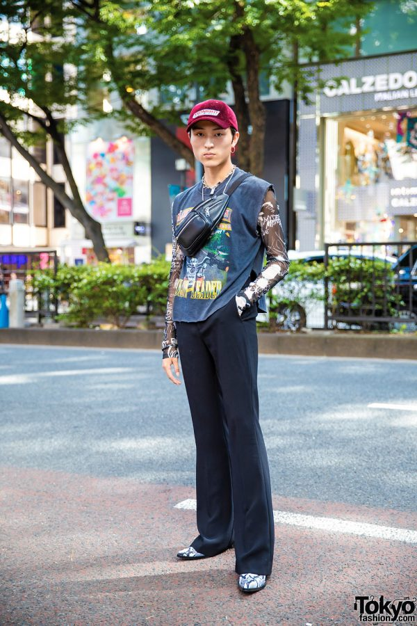 Editorial Assistant in Harajuku w/ Harley Davidson, MM6 Maison Margiela, Litmus & Vintage Accessories