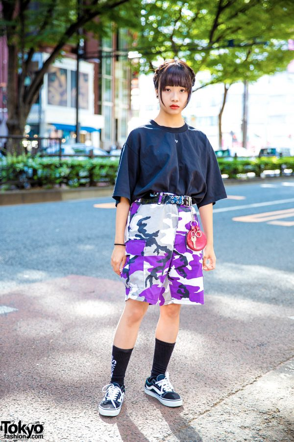 Harajuku Casual Street Style w/ Off-White Shirt, Rothco Purple Camouflage Print Shorts & Vans Sneakers