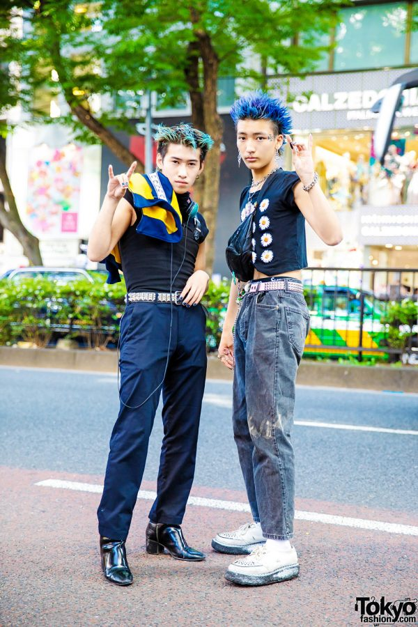 Black Outfits w/ Colored Spiky Hair, Eros Colorblock Jacket, Belt Strap Top, Daisy Print Cropped Shirt & George Cox Creepers