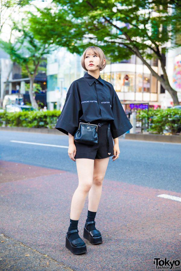 All Black Minimalist Street Style in Harajuku w/ Oversized Sleeves, H&M, Pameo Pose, Hermes & Vivienne Westwood Armor Ring