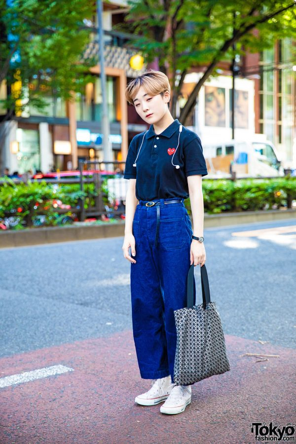 Harajuku Street Style w/ Comme des Garcons Play, United Arrows, Converse & Issey Miyake Bao Bao Geometric Tote Bag