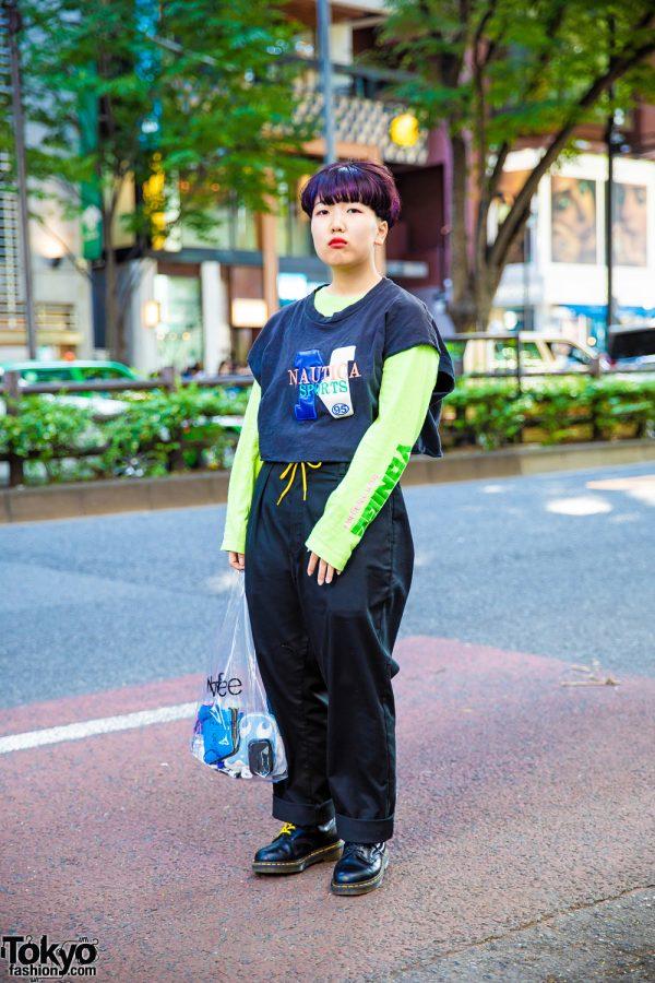 Beauty School Student's Harajuku Street Style w/ Nautica Sports, Neon Green Sweatshirt, Dickies, Dr. Martens & SHINee Bag