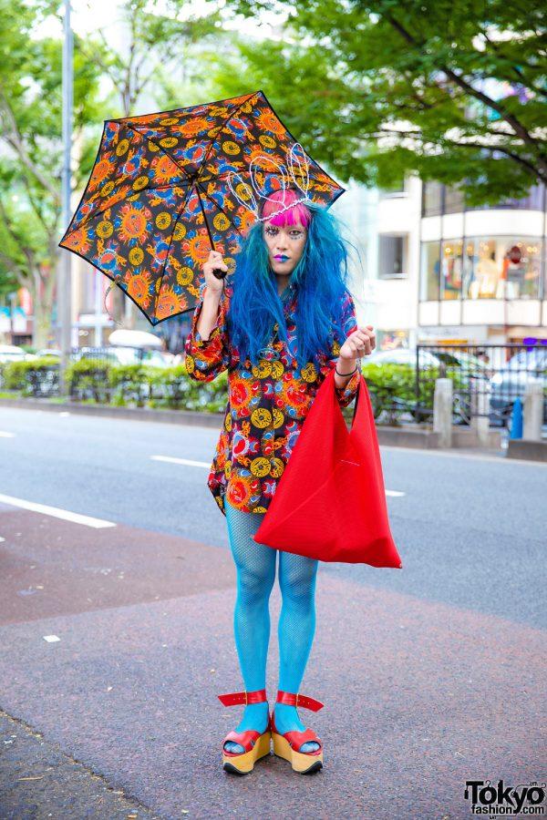 Japanese Fashion Buyer & Model in Harajuku w/ Blue Hair, Vivienne Westwood Shirt, Iconic Rocking Horse Shoes, Fishnets, Crown & MM6 Maison Margiela Bag