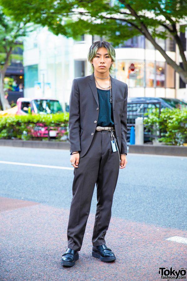 Tokyo Vintage Menswear Street Style w/ Grey Pinstripe Suit, Chain Necklace & Foot The Coacher Monk Strap Shoes