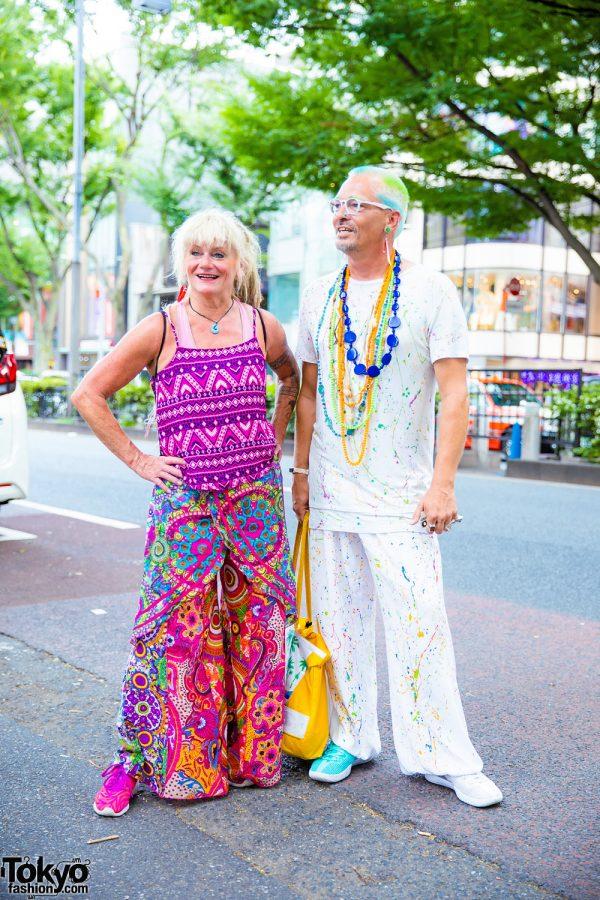 Colorful Street Fashion in Harajuku w/ Geometric Tank Top, Wide Leg Pants & Paint Splattered Clothing