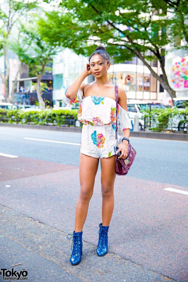 Floral Print Romper, Guess Crocodile Leather Bag & Blue Vintage Boots in Harajuku