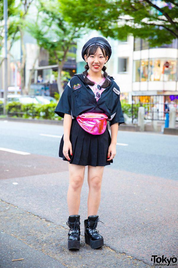 Harajuku Girl in Sevens & Yosuke Streetwear Style w/ Leather Beret, Pink Waist Bag & Buckled Boots
