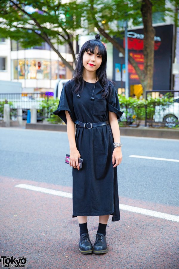 Japanese Makeup Artist in All Black Street Style w/ Jouetie Dress, Dr. Martens Shoes, Prada Backpack & Bubbles Cuff