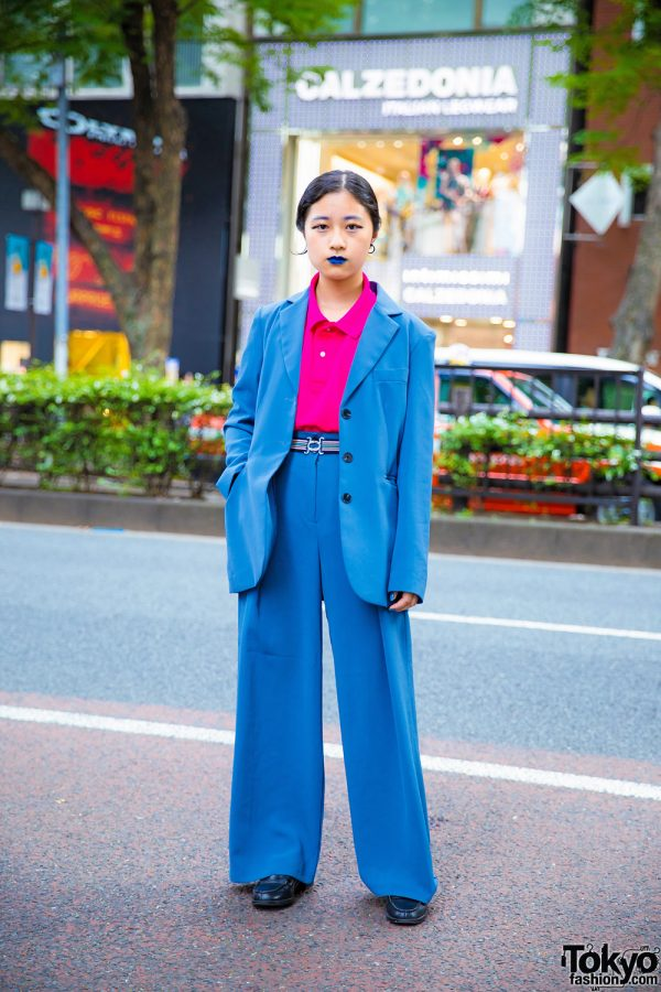 Harajuku Girl in Vintage Menswear & Matching Blue Lipstick Street Style