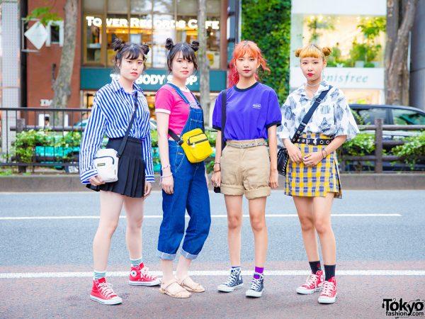 Japanese Teen Girls Street Styles & Matching Twin Buns Hairstyles, Kipling Bag & Converse Sneakers