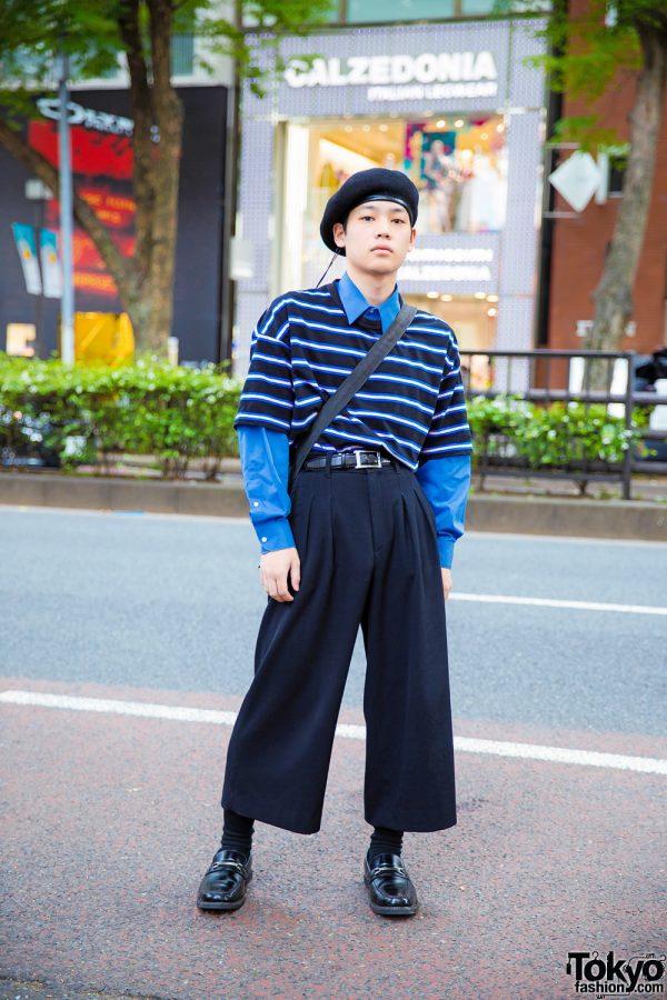 Parisian-Inspired Harajuku Street Style w/ Black Beret, Van Heusen Striped Top, JW Anderson Pants & Porter Bag