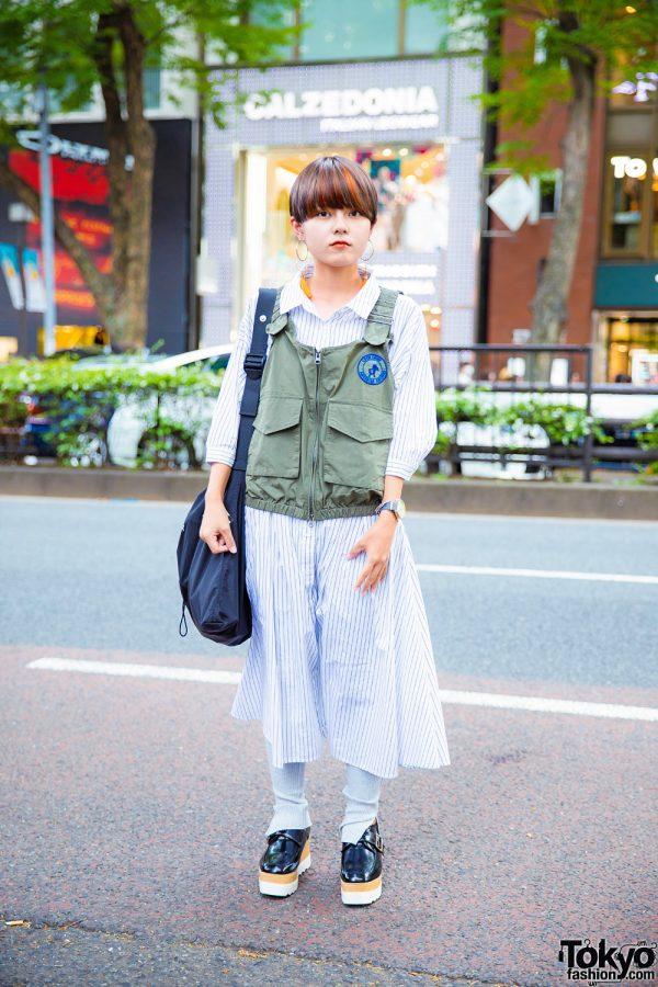 Harajuku Girl in Green Utility Vest & Striped Dress Tokyo Street Style