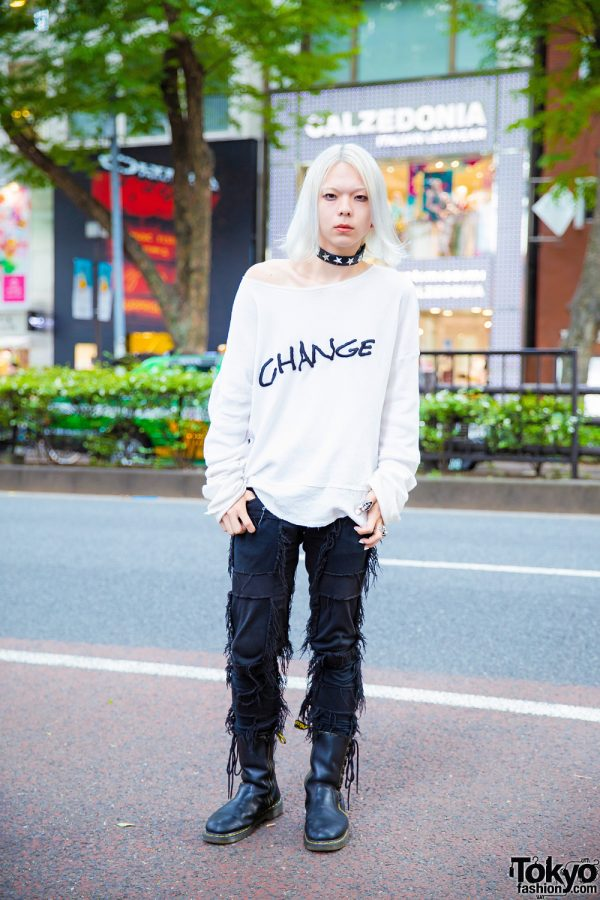 Monochromatic Edgy Streetwear Style w/ GVGV, Christian Dada, Dr. Martens, Givenchy & Tokyo Human Experiments