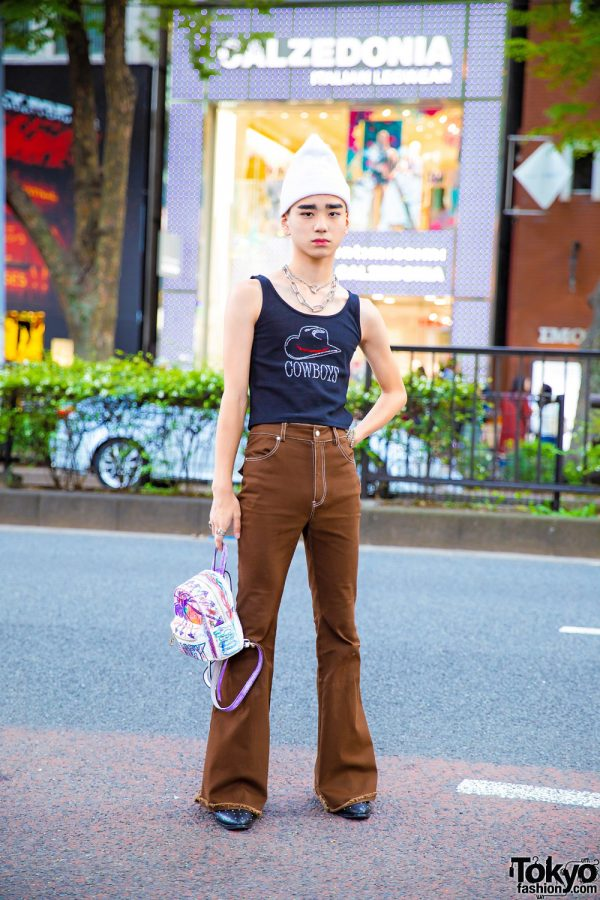 "Harajuku Street Style w/ Faith Tokyo ""Cowboys"" Top & Flared Pants, Remake Backpack & Studded Shoes"