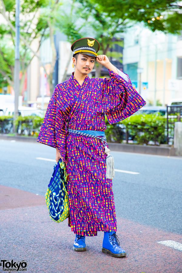 Japanese Musician in Robe Japonica Yukata, Military Hat & Dr. Martens