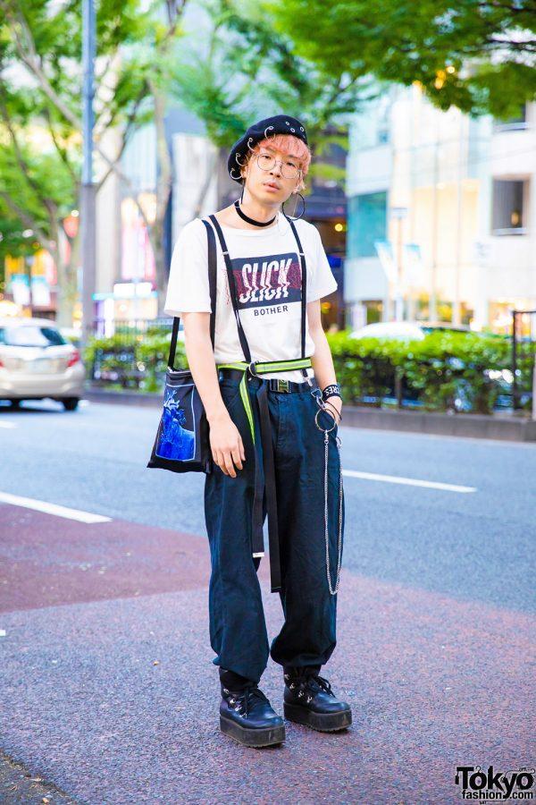 Monochrome Harajuku Street Style w/ Pink Hair, O-Ring Beret, Slick T-Shirt, Suspenders & Layered Belts
