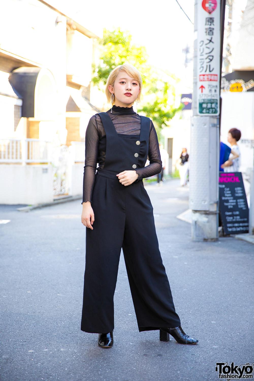 Chic All Black Minimalist Streetwear in Harajuku w/ Sheer Top, Wide-Leg Jumpsuit, Heeled Boots & Geometric Earrings