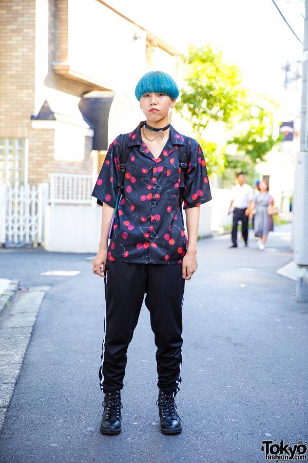Black Harajuku Cherry Print Street Style w/ Blue Bob, Swimmer, HellCat Punks, WC Cherry Shirt, & Thrasher Backpack