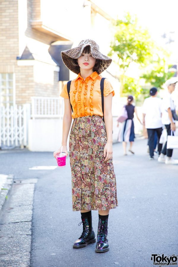 Retro Harajuku Style w/ Ruffle Blouse, Printed Skirt, Dr. Martens Psychedelic Boots, Embroidered Backpack & Floppy Hat