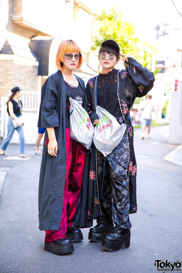 Harajuku Girls in Long Coats, Black Lace & Platforms w/ Faith Tokyo, Demonia, Vivienne Westwood & Never Mind the XU