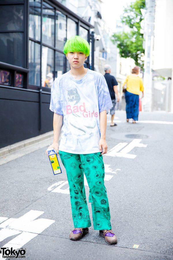 Green-Haired Harajuku Guy w/ Kinji Graphic Top, Hiro Green Printed Pants & Nike Sneakers